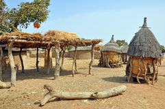 African village. Glimpse in village life, in african heart Stock Photos