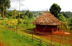 African Village. A grass hut in the village of kapchorwa in uganda east africa Stock Photos