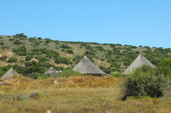 African village. African huts in a cultural village in the Shamwari game reserve in South Africa Royalty Free Stock Photo