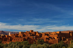 African village. Moroccan ancient village, kasbah, on the edge of the Sahara desert Stock Photos