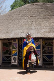 African village. Ndebele woman in her traditional dress Royalty Free Stock Photography