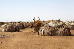 African village huts. Of the Dasanch or Galeb ethnic group near Omorate, Ethiopia Stock Photography