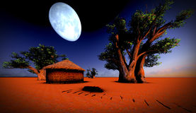 African village at night Stock Images
