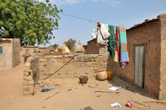 African village. Some clothes hanging out to dry in a African village Stock Photo