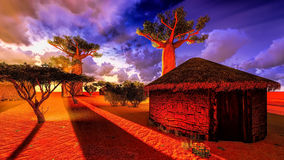African village with traditional huts Stock Photo