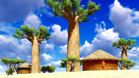 African village with traditional huts Royalty Free Stock Photography