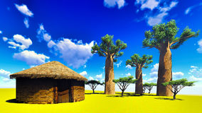 African village with traditional huts Royalty Free Stock Photos