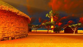 African village with traditional huts Stock Photography