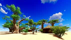 African village with traditional huts Royalty Free Stock Images