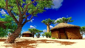 African village with traditional huts Royalty Free Stock Image