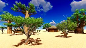 African village with traditional huts Royalty Free Stock Photo