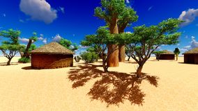 African village with traditional huts Stock Images