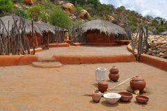 African village with traditional utensils Royalty Free Stock Photography