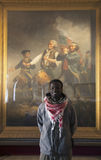 African visits Abbot Hall to see Spirit of 76 Painting by Archibald Willard, Marblehead, Massachusetts, USA Stock Photos