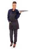 African waitress empty tray Stock Photos
