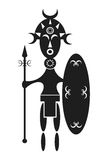 African warrior. Stylised design of an African warrior with shield and spear Royalty Free Stock Images