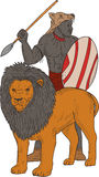 African Warrior Spear Hunting With Lion Drawing Stock Photography