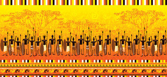 African warriors (seamless boarder) Stock Photography