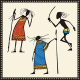 African Warriors Set. Set of African warrior illustrations Royalty Free Stock Photo