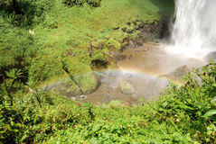 African waterfall. Tropical lower sipi falls uganda east africa with lush green Royalty Free Stock Photo