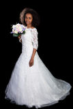 African wedding girl. Beautiful African Ethiopian woman in a white wedding gown Stock Photography