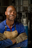 African welder with mask Royalty Free Stock Photo