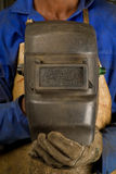 African welder with mask Stock Photography