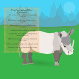 African White Rhinoceros. Against Symplistic Nature Background and Poster with Few Interesting Facts about this Animal. Educational Card for Childrens Schooling Royalty Free Stock Photo