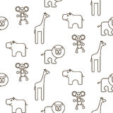 African wild animals kid seamless pattern vector. Royalty Free Stock Photos