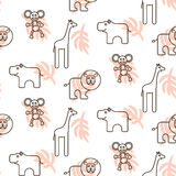 African wild animals kid seamless pattern vector. Royalty Free Stock Photo