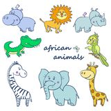 African wild animals set Royalty Free Stock Image