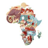 Africa map with wild animals and traditional culture royalty free illustration