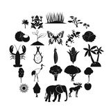 African wildlife icons set, simple style. African wildlife icons set. Simple set of 25 african wildlife food vector icons for web isolated on white background Royalty Free Stock Photography