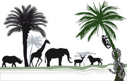 African wildlife. Set of palm trees and wild animals Stock Photography