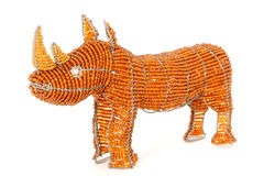 African wire and bead rhino Royalty Free Stock Photos