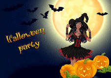 African witch and pumpkins on full moon background Royalty Free Stock Photos