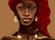 African woman. Vector illustration of an african woman Stock Photos