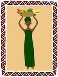 African woman. An African woman in traditional clothes with a dish of fruit on her head stock illustration