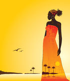 African woman. Sunset in Africa, the woman and the sea. Vector illustration Royalty Free Stock Images
