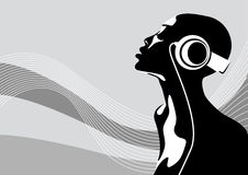 African woman. Abstract vector illustration of an african woman listening to music Royalty Free Stock Photography