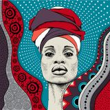 African woman with African in turban, tribal background. Beautiful black woman. Vector illustration stock illustration