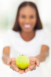 African woman apple Royalty Free Stock Photo