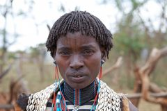 African woman with face tattoo Royalty Free Stock Photos