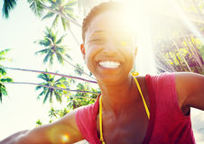 African Woman Beach Happiness Freedom Concept Stock Photos