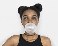 Free African Woman Blowing Bubble Gum Playful Portrait Stock Photography - 87644192