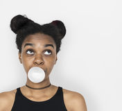 African Woman Blowing Bubble Gum Playful Portrait Royalty Free Stock Photography