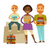 Family with gifts for housewarming party isolated illustration Royalty Free Stock Images