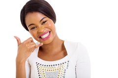 African woman call me Stock Photography