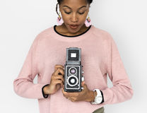 African Woman Camera Photographing Classic Retro Studio Portrait Royalty Free Stock Photography