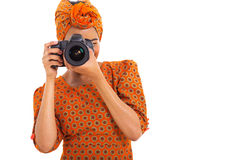 African woman camera Royalty Free Stock Image